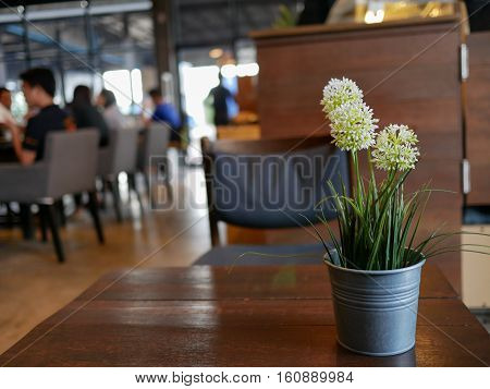 White flowers in a pot on table in Coffee shop