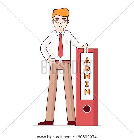 Admin standing tall leaning on a big file folder organizer. Proud computer system administrator. Modern flat style thin line vector illustration. Concept isolated on white background.