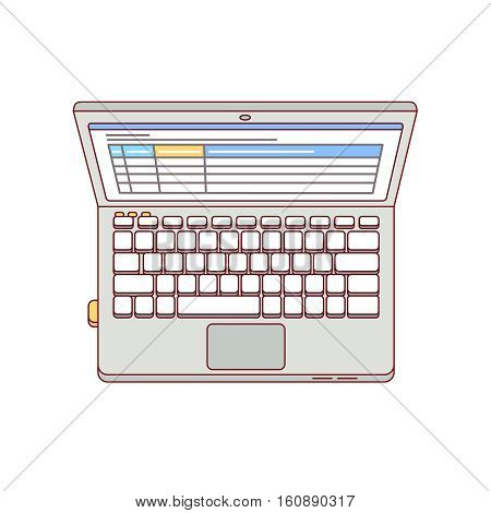 Laptop computer aerial top view with opened spreadsheets tables app. Modern flat style thin line vector illustration isolated on white background.