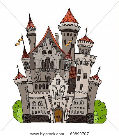 Cartoon fairy tale castle tower icon. Cute cartoon castle architecture. Vector illustration fantasy house fairytale medieval castle. Kingstone stronghold design fable isolated.