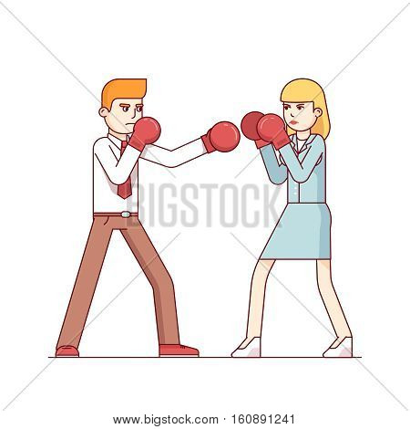 Business man and business woman fighting in boxing gloves. Intersexual conflict and woman employees harassment concept. Modern flat style thin line vector illustration isolated on white background.