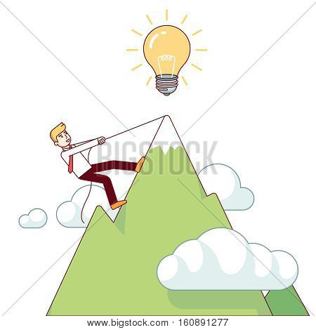 Business man working hard climbing mountain to accomplish his great big idea. Success determination and hard work concept. Modern flat style thin line vector illustration isolated on white background.