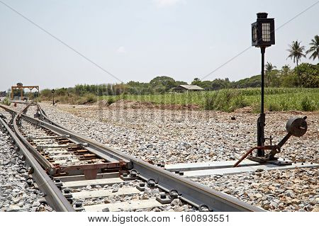 The turning point of the rails,  transportation, metal, railroad, machine, carriage,