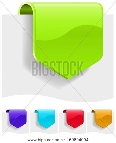 Blank discount tags in different color variants. Raster copy.