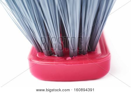 Cleaning brush gray bristle hair over isolated white background