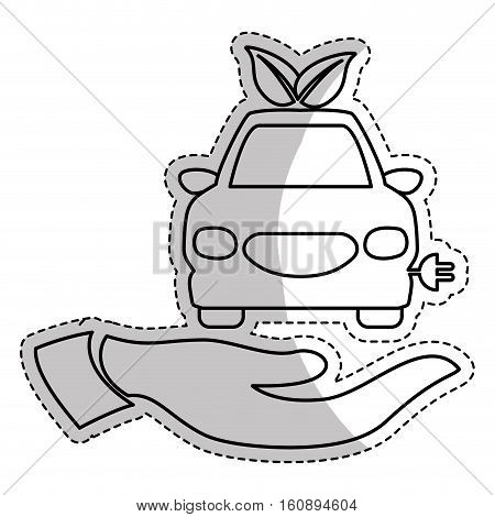 hand with car with electric plug icon over white background. eco friendly car. vector illustration