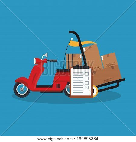 Box and motorcycle icon. Delivery shipping and logistics theme. Vector illustration