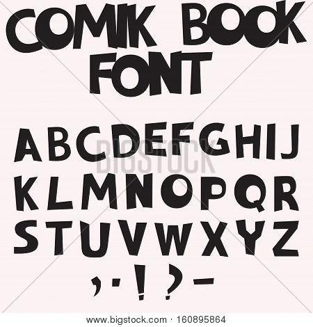 Monochrome Comic book font in a pop art retro style, vector