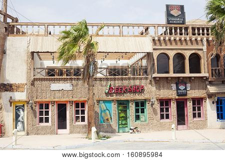 Egypt Sharm el sheikh - august 2016: restaurant pub outside front without people. Africa
