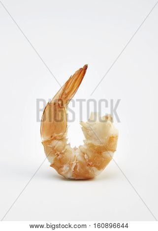 Cooked shrimps isolated on white background seafood, red, fish, tasty, unshelled,