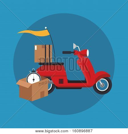 Box motorcycle and chronometer icon. Delivery shipping and logistics theme. Vector illustration