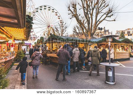 LUXEMBOURG LUXEMBOURG - DECEMBER 8 2016: Christmas market and amusement park in