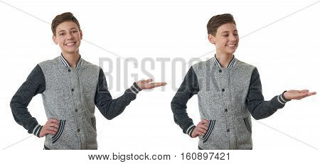 Set of cute teenager boy in gray sweater presenting something on hand over white isolated background, half body