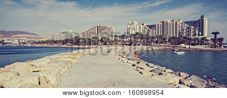 Central public beach of Eilat - famous resort city in Israel