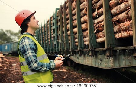 the working construction foreman in his place considering materials and work plan