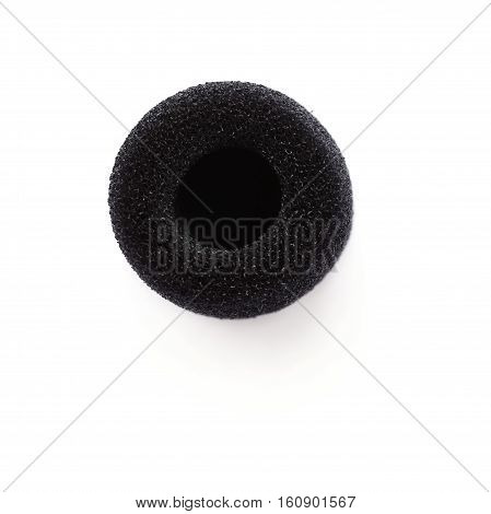 Soft microphone tip isolated over white background