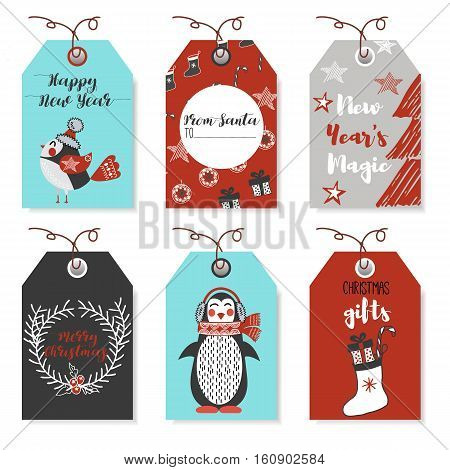 Christmas animals bear, squirrel, rabbit, owl, bird, rooster, penguin, fox. New Year and Christmas cards. Stylish tags with Christmas wishes.  Set Christmas elements for design. Lettering.