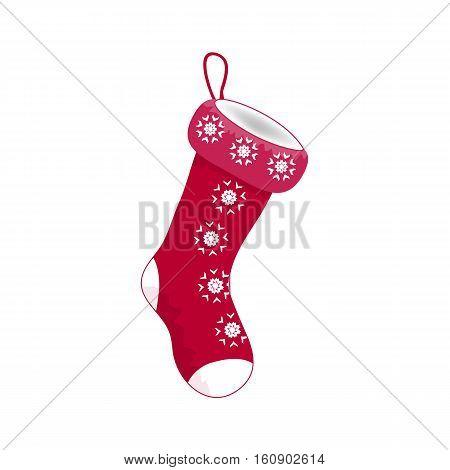 Empty Christmas Sock Icon Symbol Design. Vector Christmas Illustration Isolated On White Background.