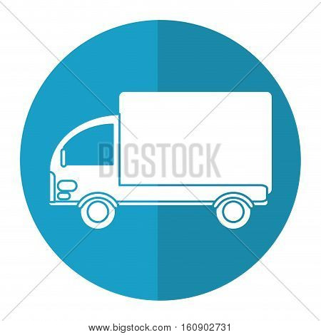 truck mini delivery cargo blue circle vector illusration eps 10