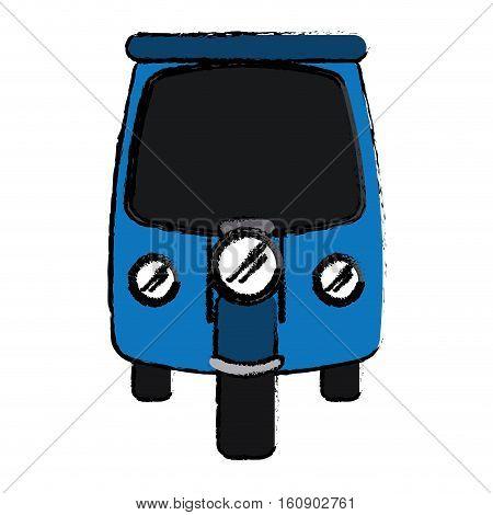 drawing motor rickshaw transport tricycle vector illustration eps 10