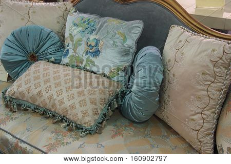 Luxury pillow on the bed in the bedroom. Interior