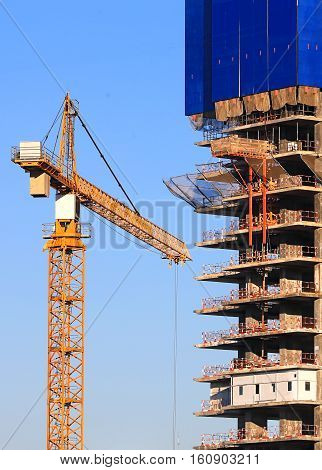 Crane on the construction site of an industrial facility