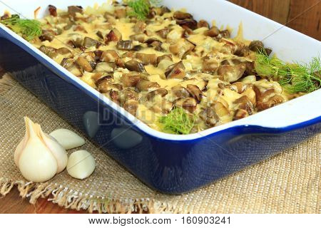 stewed potatoes with slices of eggplant under melted cheese exept fennel and garlic. New potatoes garlic and fennel on the table