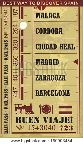 Train ticket vector illustration in retro style with cities and popular destinations in Spain. Abstract image design on old paper pattern. Best way to discover Spain.