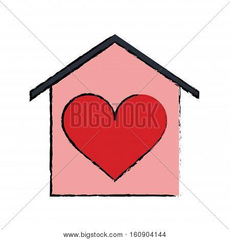 cartoon house love heart beauitful card vector illustration eps 10