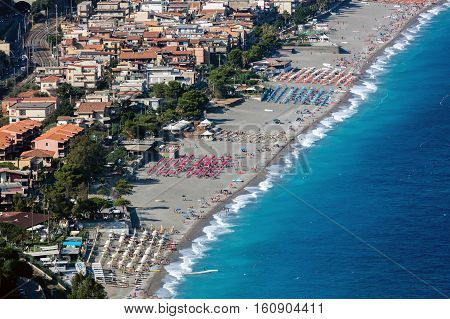 Beach In Taormina, Sicily, Italy.
