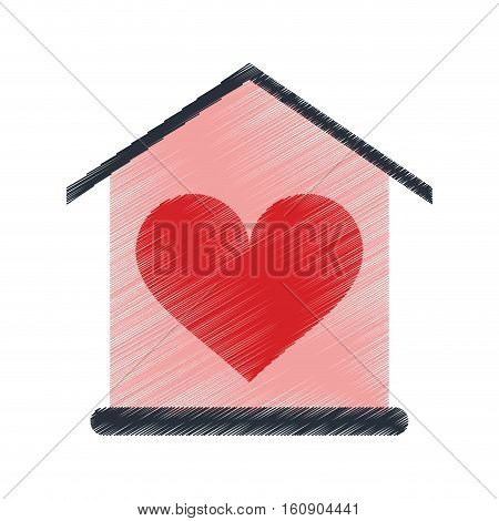 drawing house love heart beauitful card vector illustration eps 10