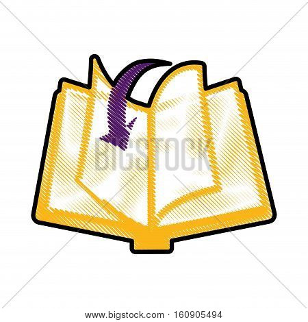 book with download arrow icon over white background. electronic book concept. colorful and sketch design. vector illustration