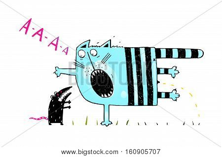 Scared cat pee. Black and white hand drawn cartoon. vector illustration.