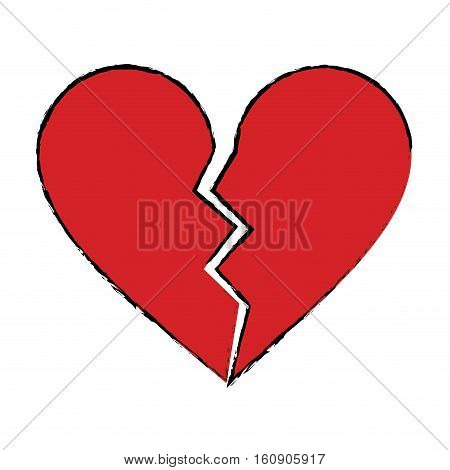 cartoon red heart broken sad separation vector illustration eps 10