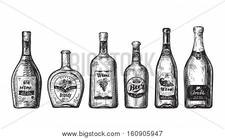 Set bottles for bar. Alcoholic beverages, drink such as wine, beer, brandy, champagne, whiskey, vodka Sketch vector illustration
