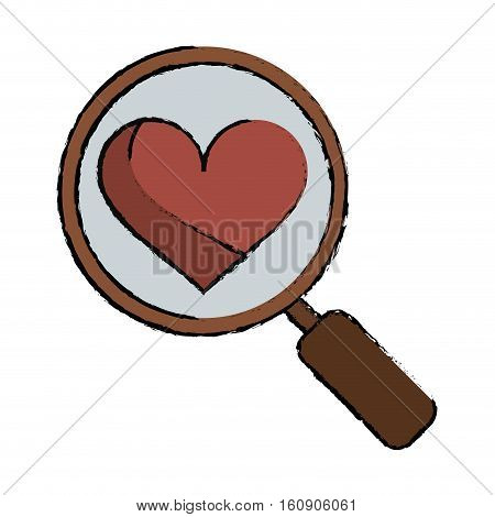 cartoon heart love loupe search icon vector illustration eps 10