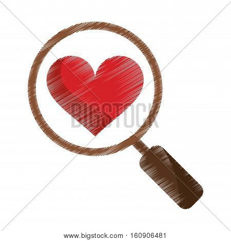 drawing heart love loupe search icon vector illustration eps 10
