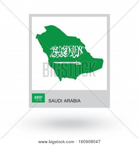Map of Saudi Arabia with national flag. vector illustration