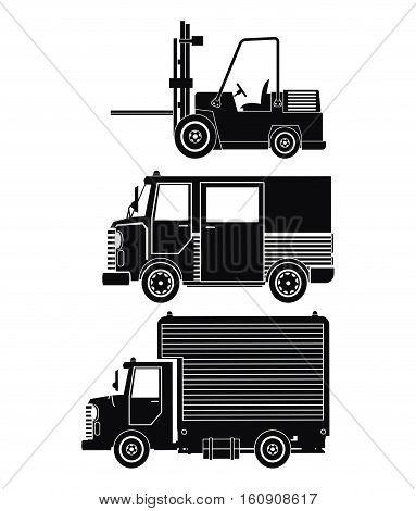 silhouette collection truck forklift cargo transport vector illstration eps 10