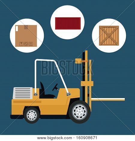 truck forklift warehouse machine work box container vector illustration eps 10
