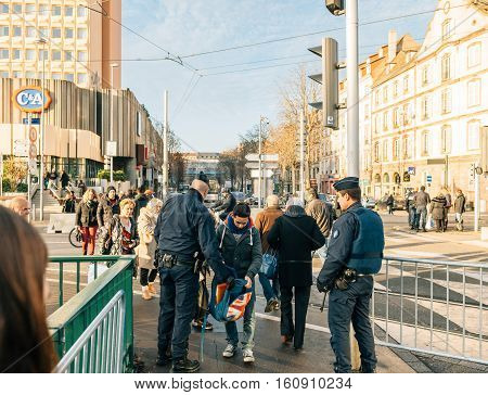 STRASBOURG FRANCE - DEC 9 2016: Police check-point verifying all pedestrian before entering city center after extreme secure measures have been taken to prevent any terrorist attacks