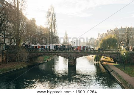 STRASBOURG FRANCE - DEC 9 2016: Police check-point on bridge verifying all pedestrian before entering city center after extreme secure measures have been taken to prevent any terrorist attacks