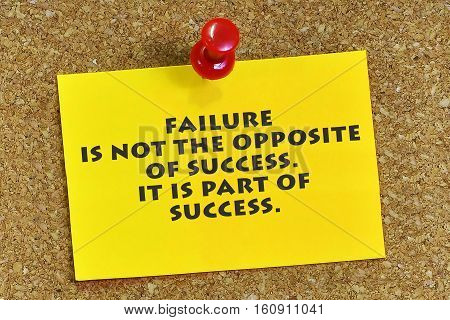 Inspirational Motivating Quote On Sticky Note Paper With Cork Background. Failure Is Not The Opposit