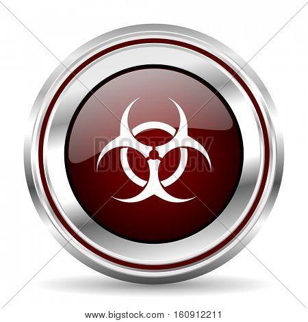 Biohazard icon chrome border round web button silver metallic pushbutton