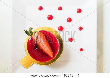 top view strawberry shortcake on white dish