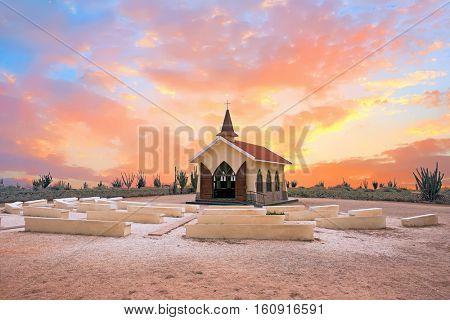 Alto Vista Chapel on Aruba island in the Caribbean at sunset