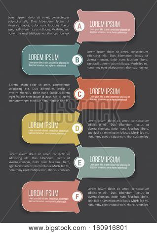 Clean vector infographic background with six steps in tabs