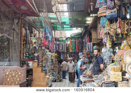 CAIRO, EGYPT - MARCH 12, 2016: Historical Khan El-Khalili Souq marketplace is one of the tourist magnets in Capital City Cairo, Egypt.