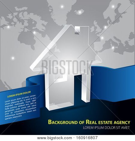 Vector brochure background for real estate agency with abstract house and continents.