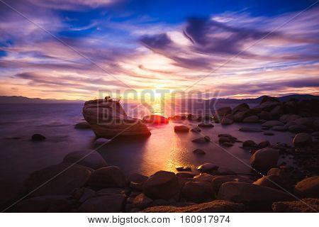 Sunset At Bonsai Rock, Lake Tahoe, Nevada